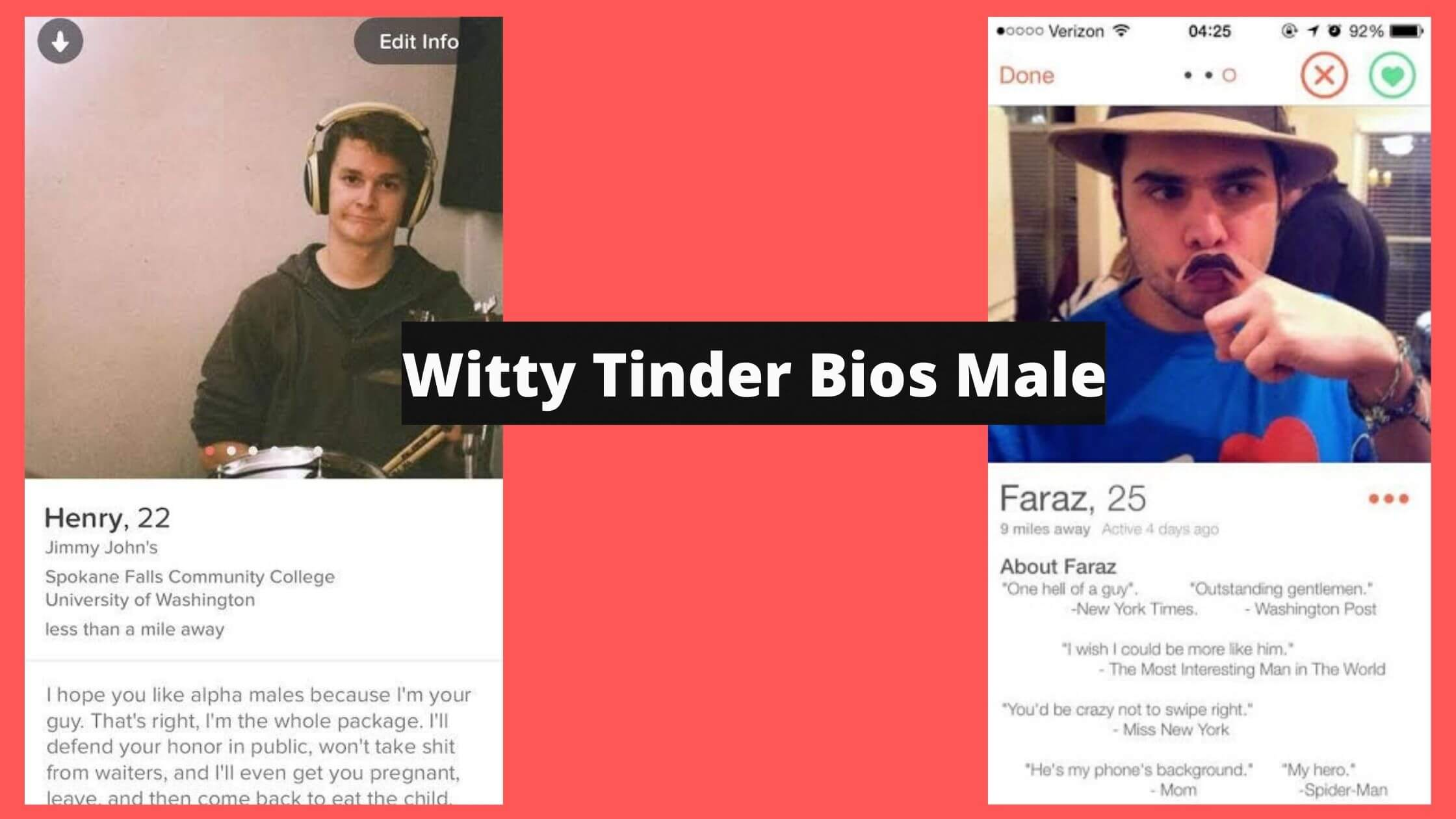 Witty Tinder Bios Male